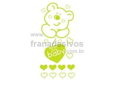 Cartela - Ursinho com corações
