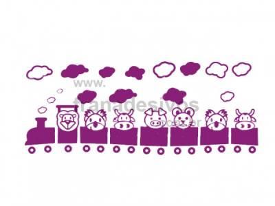 Kit de Adesivos Decorativo para Quarto Infantil Trenzinho com Bichinhos 2