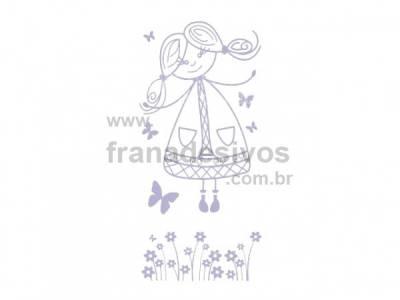Kit de Adesivos Decorativo para Quarto Infantil Menina com flores e corações
