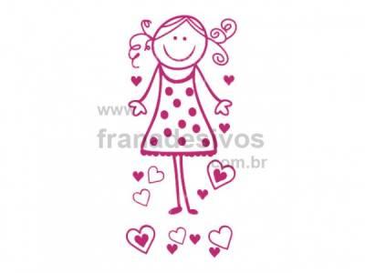 Cartela - Menina com corações 2