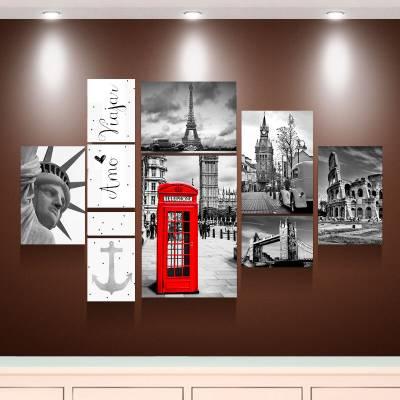 Kit 10 Quadros Decorativos Nova Iorque Londres