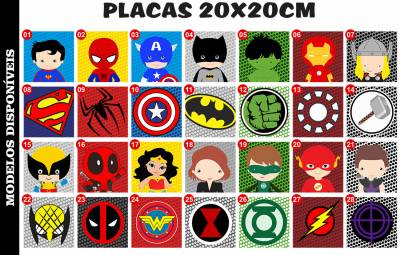 Placa Decorativa Infantil Heróis Marvel e DC