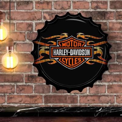Placa Decorativa em Formato de Tampinha de Garrafa Harley Davidson