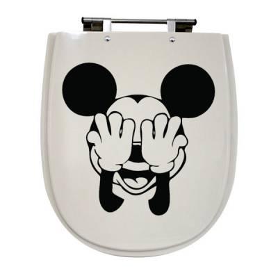 Adesivo de Banheiro para Vaso Acoplado Mickey Tapando os Olhos