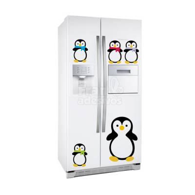 Adesivo de geladeira pinguins com filhotes e para armário