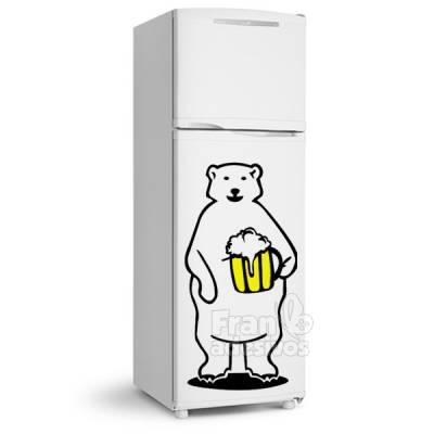 Adesivo de Geladeira Urso / Ursinho polar com Copo de Cerveja