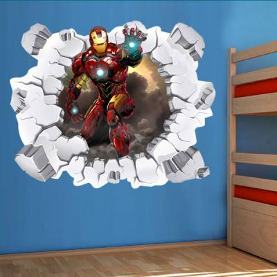 Adesivo de Parede Buraco Falso Homem de Ferro 3D
