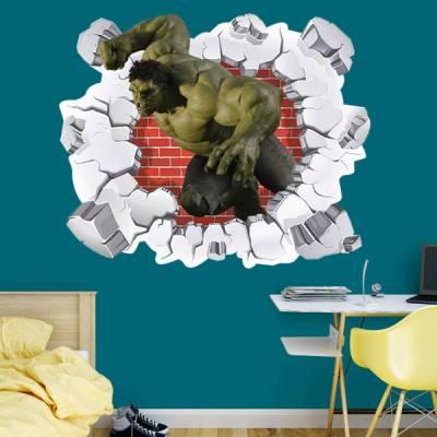 Adesivo de Parede Buraco Falso O Incrível Hulk 3D
