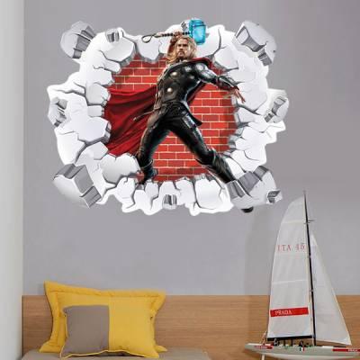 Adesivo de Parede Buraco Falso Thor 3D