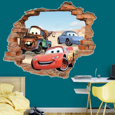 Adesivo de Parede Buraco Falso Carros Relâmpago Mcqueen 3D