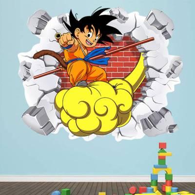 Adesivo de Parede Buraco Falso Dragon Ball Goku Pequeno