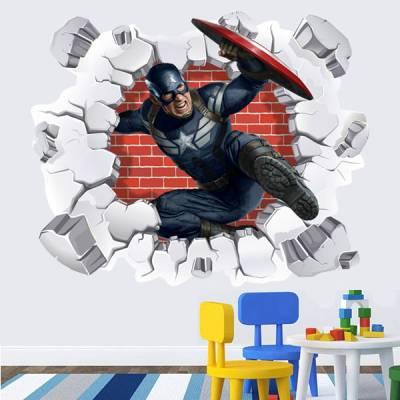 Adesivo de Parede Buraco Falso Capitão America 3D 2