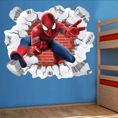 Adesivo de Parede Buraco Falso Homem Aranha 3D