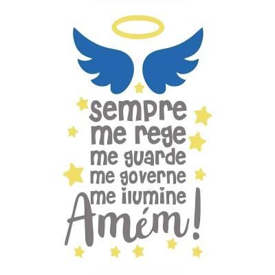 Adesivo De Parede Menino Quarto Infantil Oração Santo Anjo