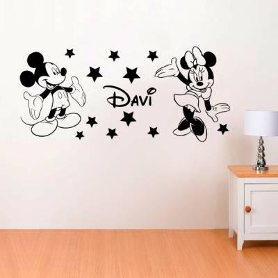 Adesivo de Parede Infantil Mickey Minnie e Nome Personalizado