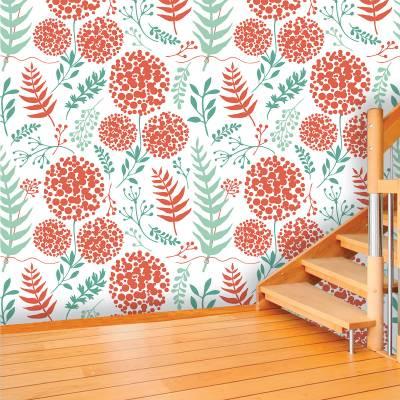 Papel De Parede Adesivo Floral Vermelho E Verde