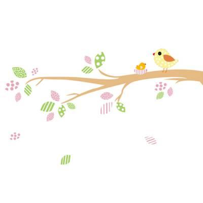 Adesivo de parede Floral Pássaro no Galho Patchwork