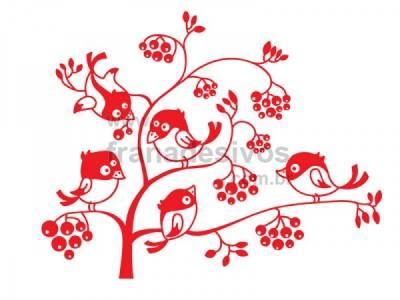 Adesivo de parede Floral com a turma passarinho