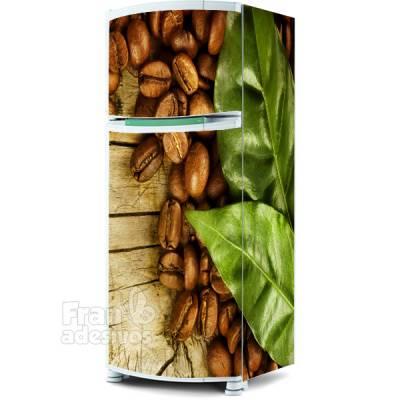 Adesivo para envelopamento de geladeira - Grãos de café
