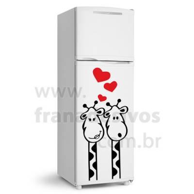 Adesivo de Geladeira Casal de Girafa / Girafinha