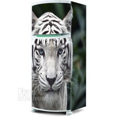 Adesivo para envelopamento de geladeira - Tigre Branco