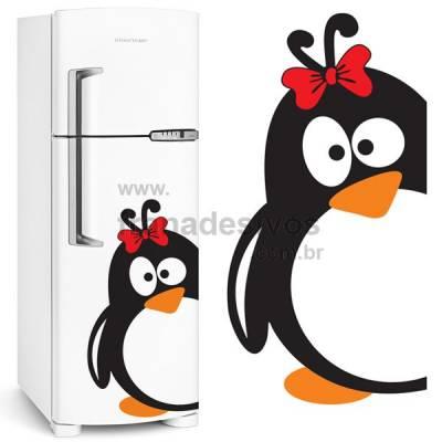 Adesivo de Geladeira Pinguim de laço