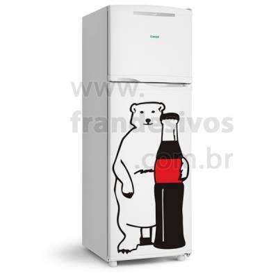 Adesivo de Geladeira Urso Polar com coca cola