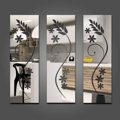 Espelho Decorativo Floral Triplo