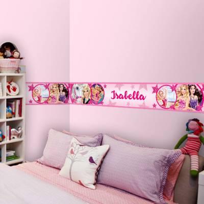 Adesivo de Parede Faixa com Nome Barbie Princesas Rosa