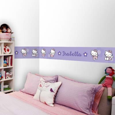 Adesivo de Parede Faixa Personalizado Hello Kitty 2 Lilás