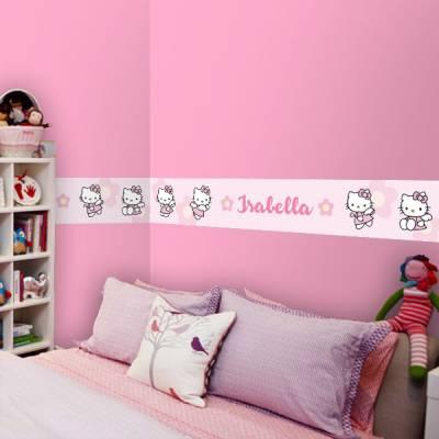 Adesivo de Parede Faixa Personalizado Hello Kitty 2 Rosa