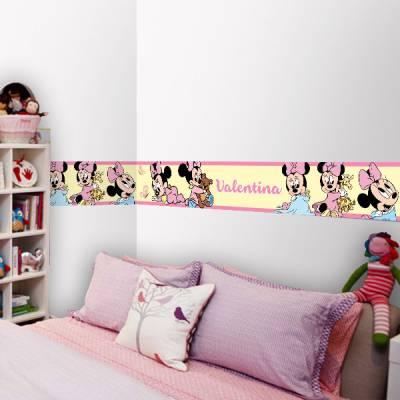 Adesivo de Parede Faixa com Nome Minnie Baby Rosa com Amarelo