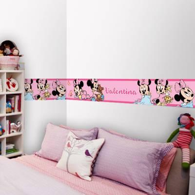 Adesivo de Parede Faixa com Nome Minnie Baby Rosa