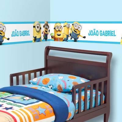 Adesivo de Parede Faixa Minions Nome Personalizado Azul Claro