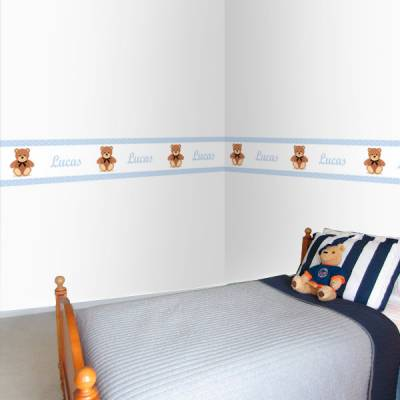 Adesivo de Parede Faixa Ursinho com Laço Azul Claro