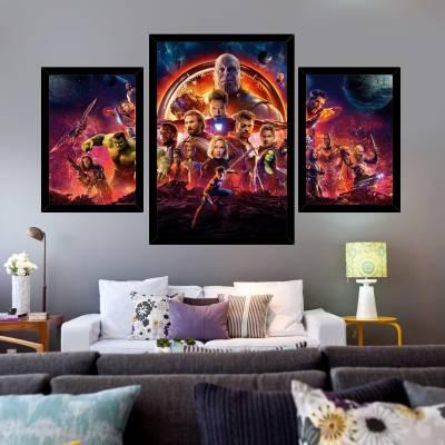 Kit de 3 Placas Decorativas Vingadores Guerra Infinita