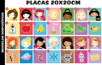 Placa Decorativa Princesas MDF 3MM 20x20CM