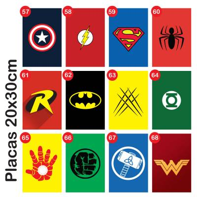 Placa Decorativa Infantil Heroes 1 Marvel e DC