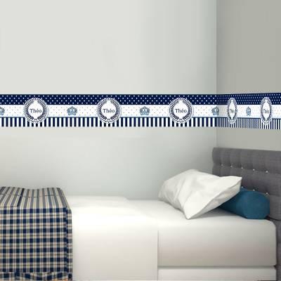 Adesivo de faixa para Parede Azul Ursinho Principe com Nome