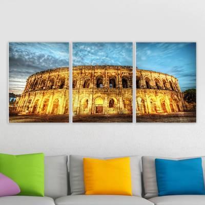 Conjunto de 3 Quadros Decorativos Coliseu