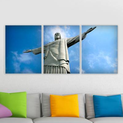 Conjunto de 3 Quadros Decorativos Cristo Redentor