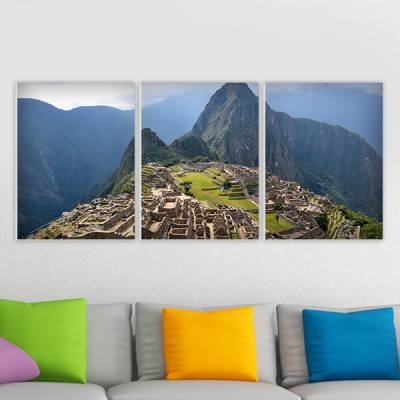 Conjunto de 3 Quadros Decorativos Machu Picchu