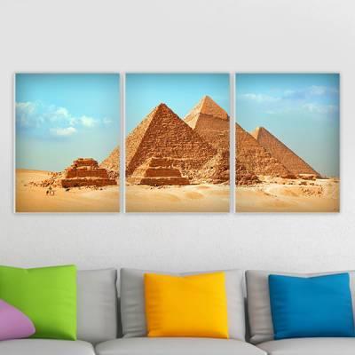Conjunto de 3 Quadros Decorativos Piramides do Egito