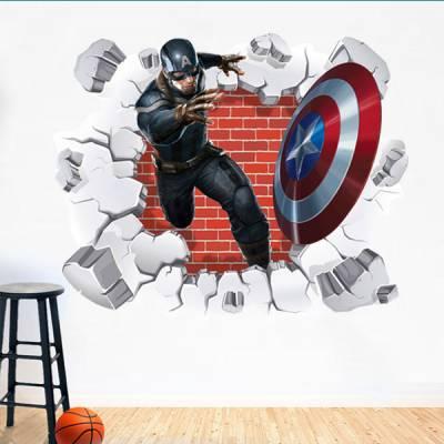 Adesivo de Parede Buraco Falso Capitão America 3D