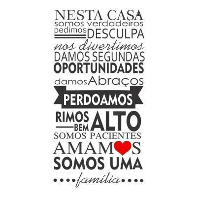 Adesivo Decorativo De Parede Frase Casa Coração Familia