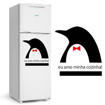Adesivo de Geladeira Pinguim Elegante / Eu amo minha cozinha
