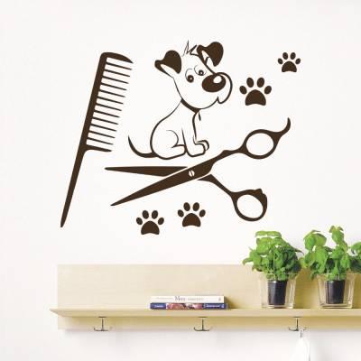 Adesivo de Parede Cachorrinho Pet Shop Banho e Tosa