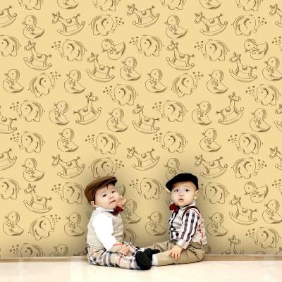 Papel De Parede Infantil Brinquedos Animaizinhos
