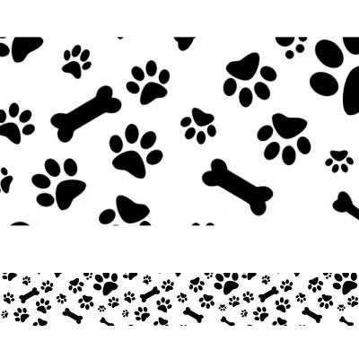 Adesivo de Faixa Para Parede Ossos e Pegadas de cachorrinho