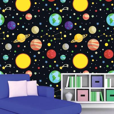 Papel De Parede Adesivo Infantil Planetas